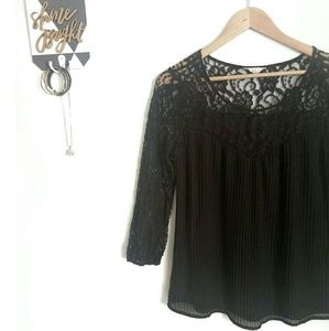 2 for $10•ADIVA Black Lace Pleated Chiffon Blouse